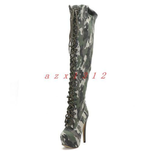 runde Knie über Plattform Spitze Frauen Stiefel hohe dem Y Leder Stiletto Absatz schnüren faxqd