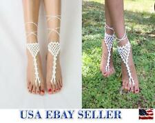 Crochet Barefoot Sandals Wedding Anklets Beach Anklets Shoes Ankle Bracelet #61