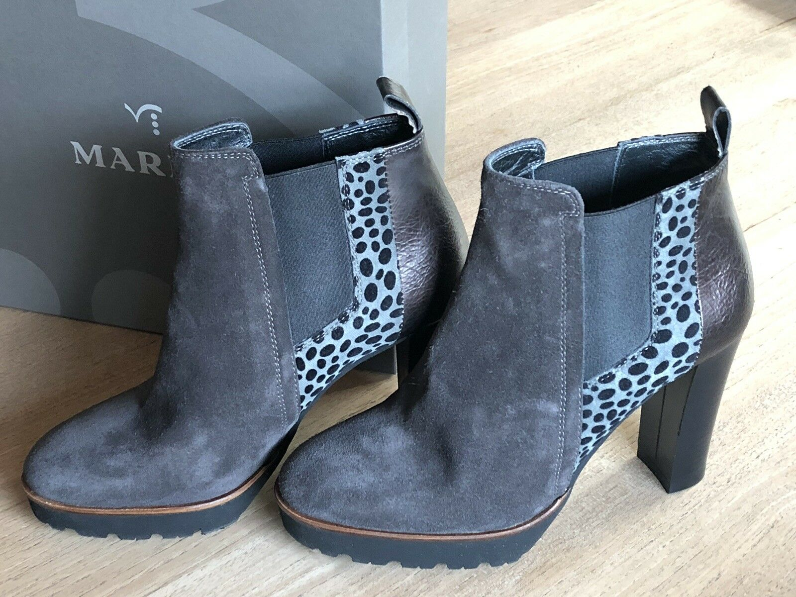 Maripé Stiefeletten Damen Schuhe Echtleder grau   metallic   Leo Gr. 37 NEU