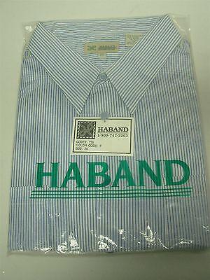 VTG HABAND BLUE & WHITE STRIPE SHORT SLEEVE DRESS SHIRT SIZE 20 ~ 3XL NOS MIP!