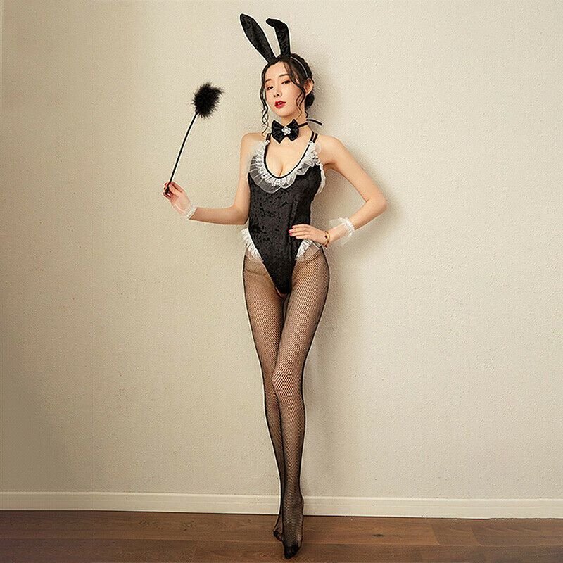 Women Sexy Cute Bunny Rabbit Adult Cos Costume Lace Velvet Bodysuit Clubwear DZ