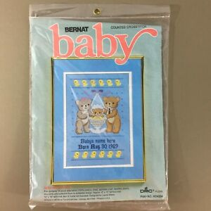 Baby Makes Three cross stitch kit for boy personalized name & birth date bears