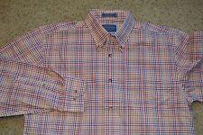 Pendleton Metro Shirt Wrinkle Resistant 100% Cotton Red/Blue/Green Plaid MINT!