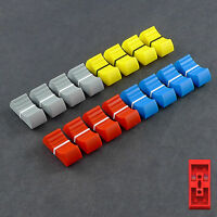 MIXER SLIDER Fader Knobs 4mm Fit X 16 - Red, Blue, Grey and Yellow