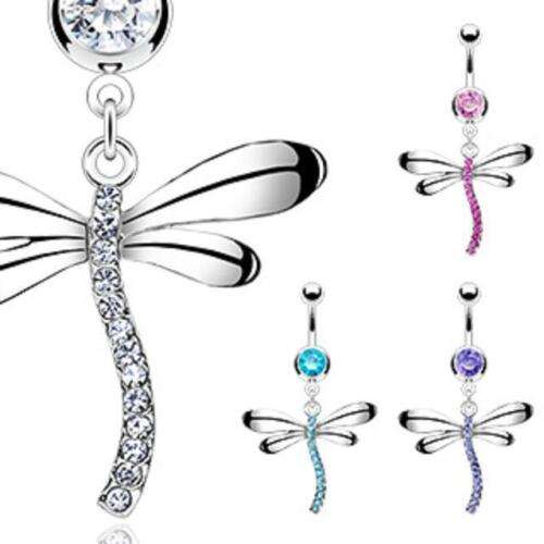 Navel Ring Surgical Stainless Steel Gemmed Dangle Dragonfly Belly Bar