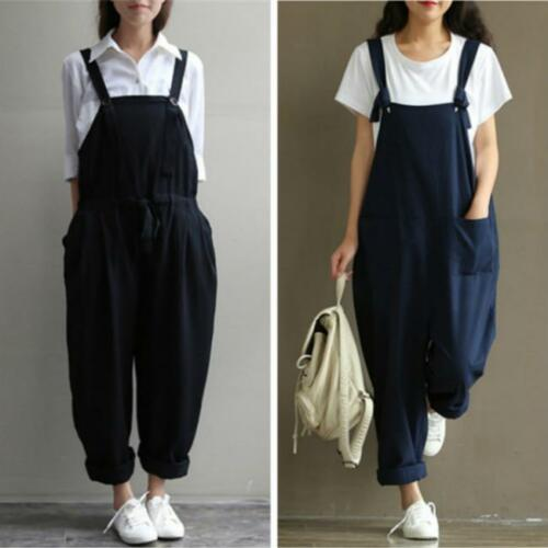 Women Loose Baggy Sleeveless Overall Long Jumpsuit Playsuit Trousers Harem Pants