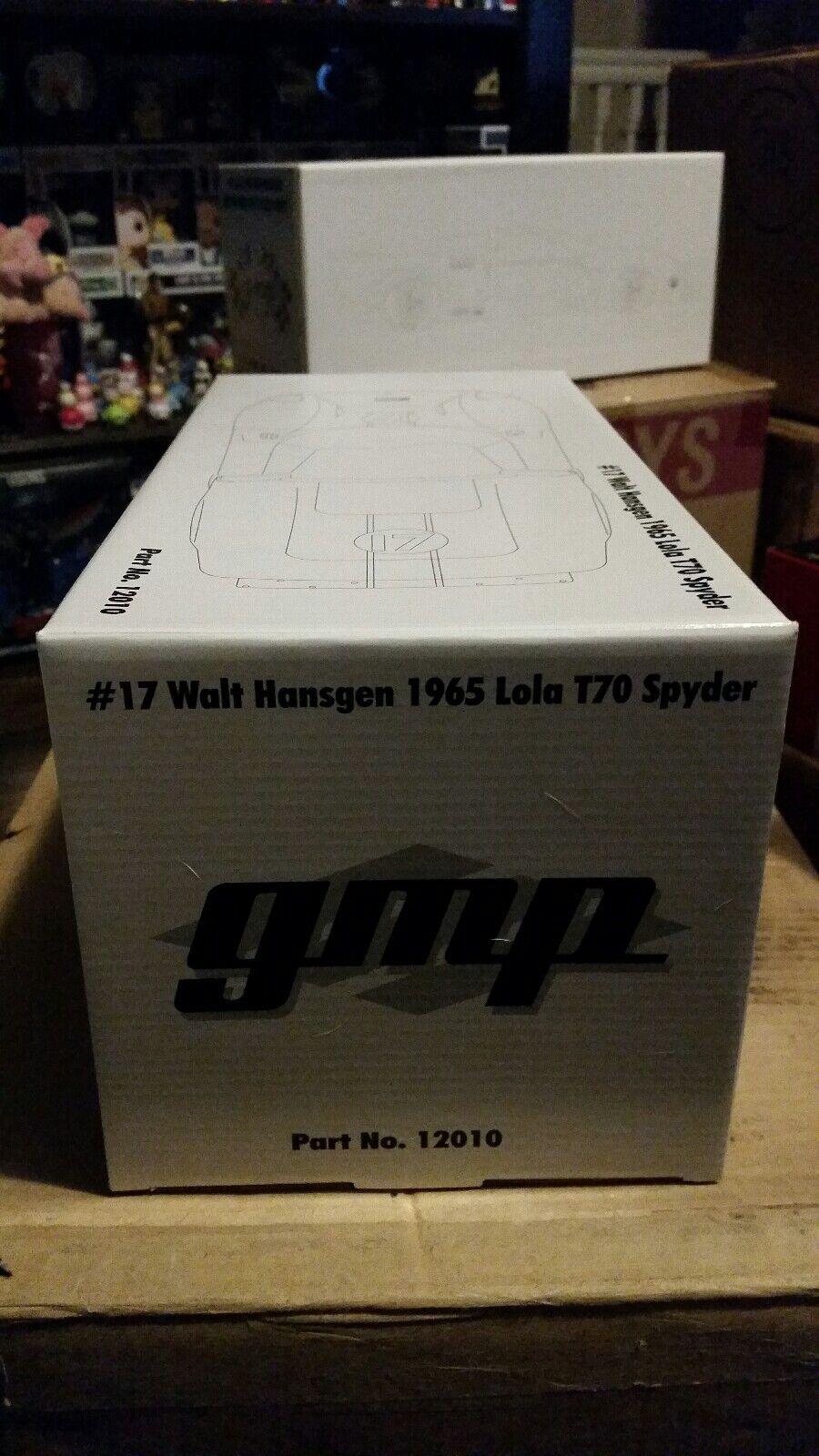 GMP Walt Hansgen 1965 Lola T70 Spyder Diecast Menta en caja