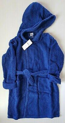 Leveret Kids Terry Cloth Bathrobe in Dark Blue Sizes 6 8 Years New