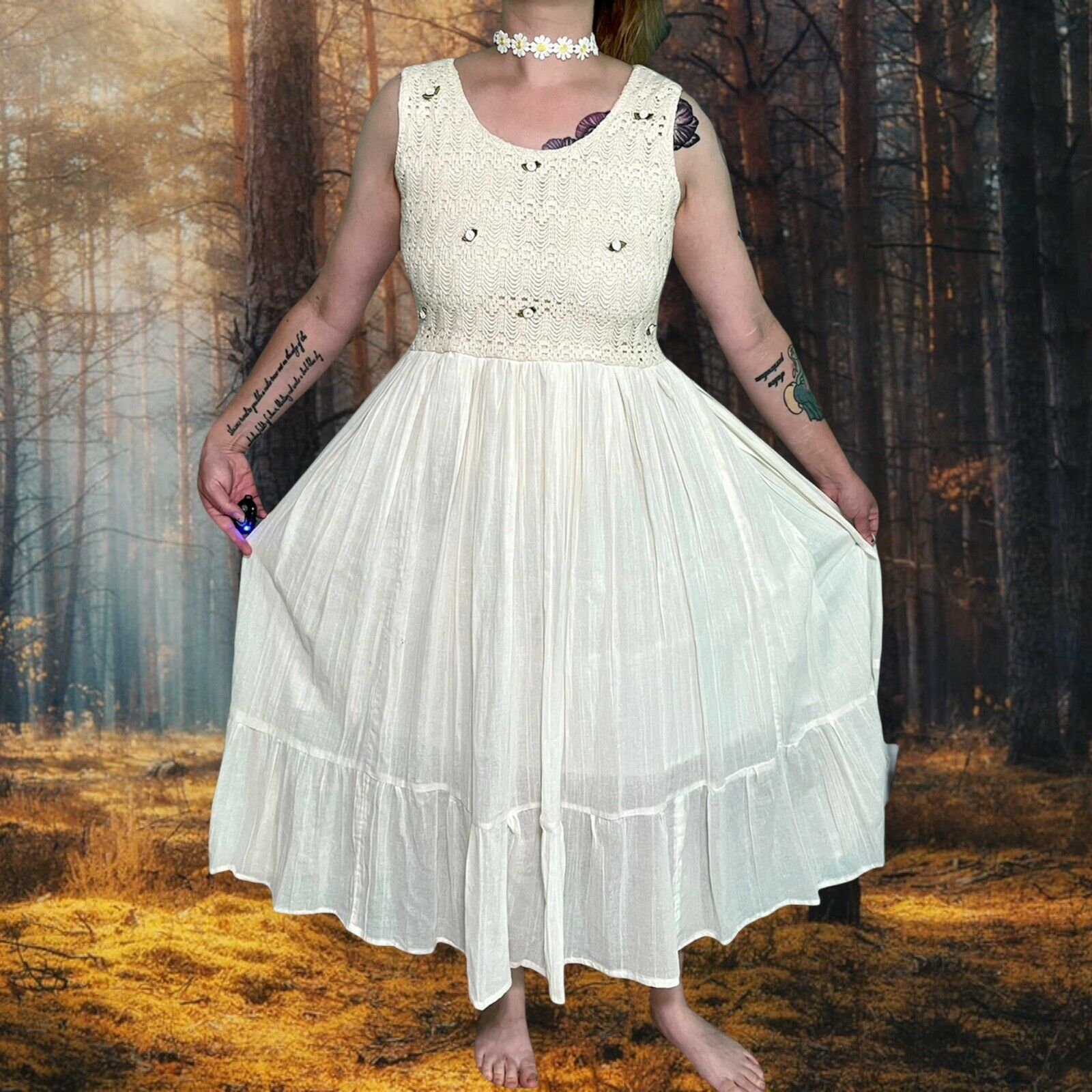 vintage 90s prairie cottagecore 70s hippie fairyc… - image 1