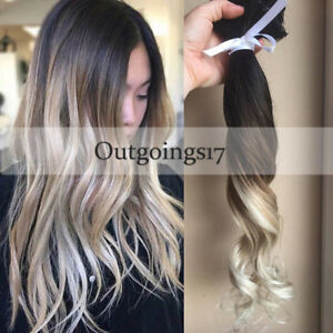Ombre Balayage Clip In Remy Human Hair Extensions Dark Brown To Ash