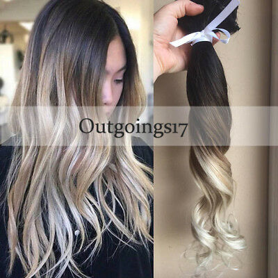 Ombre Balayage Clip in Remy Human Hair Extensions Dark Brown to Ash Blonde  7pcs