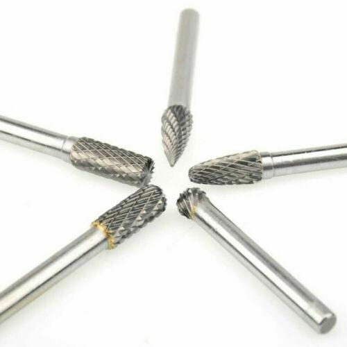 5pcs 1//4 Inch Tungsten Carbide Rotary Point Burr Die Grinder Shank Set Tool Bits