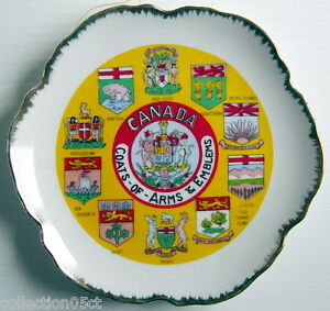 ONE-VINTAGE-DECORATIVE-PLATE-COATS-OF-ARMS-amp-EMBLEMS-OF-CANADA