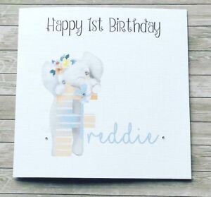 Handmade Personalised Floral Elephant Childs Birthday Card 1st 2nd any age