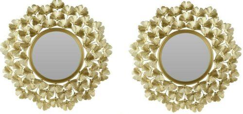 2x Spiegel Wandspiegel Dekospiegel Gold 52cm Bad Deko Flur