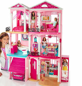 New mattel barbie 3 story pink furnished doll town house for Dream house days furniture