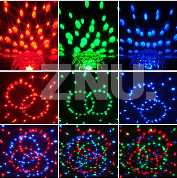 6CH RGB LED Party Disco DJ Crystal Magic Ball Effect Stage Light Voice Control