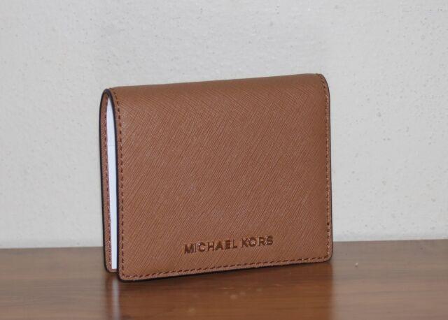 quality design 3cbae cdc30 Michael Kors Leather Flap Card Holder Acorn