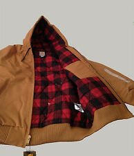Carhartt Men Camo-Lined Duck Active Jacket (101074) Brown/Dark Crimson Large New