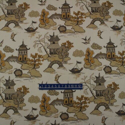 "HOME ACCENTS XANADU ALABASTER ASIAN CHINOISERIE TEMPLE FABRIC BY YARD 54/""W"