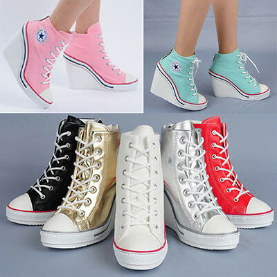 Wedges Trainers Heels Sneakers Platform High Hi Top Ankles Lace Up Pump Boots