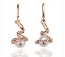 Wedding Jewellery Gold & White Pearls with Rhinestones Drop Earrings E494
