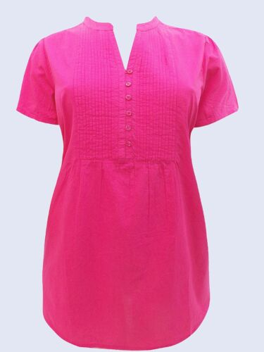 Woman Within NEW Hot Pink Pintuck Short Sleeve Blouse SIZES 22//24 to 34//36