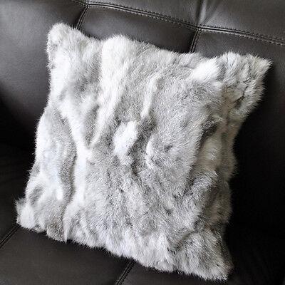 Sofa Pillow Case Real Farm Rabbit Fur Genuine Xmas Series Home Decor Square