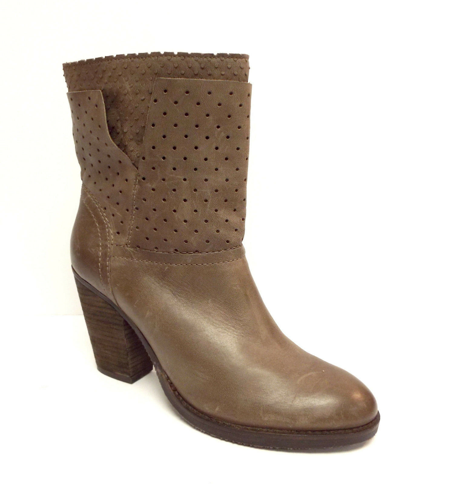 STEVEN Steve Madden Size 9 KOBRRA Taupe Leather Perforated Ankle Boots