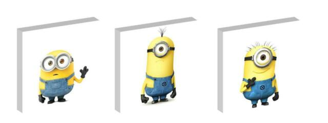 MINIONS MOVIE KEVIN STUART AND BOB CANVAS  ART BLOCKS/ WALL ART PLAQUES/PICTURES