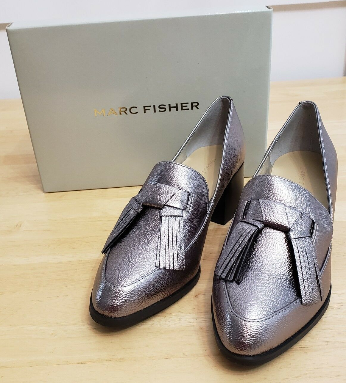 Marc Fisher Wouomo Phylicia Loafer, Pewter, 7 Medium US