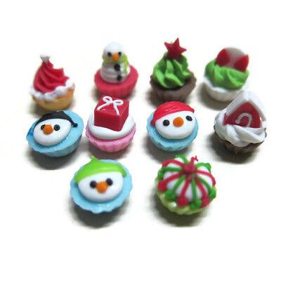 10 Miniature Christmas Cupcakes Dollhouse Miniatures Food Bakery Holiday Season