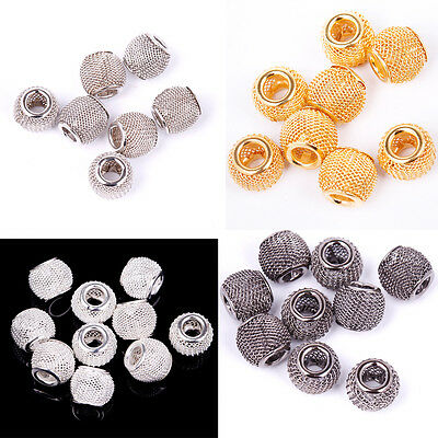 20pcs Lots Silver/Gold/Black Basketball Spacer Mesh Beads Earrings Findings 12mm