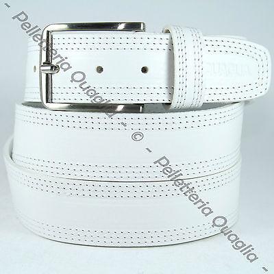 Cintura Pelle Bianco Cuoio Uomo Donna Artigianale Made In Italy 3,0 cm c1