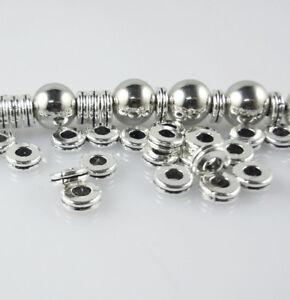 Hot 100pcs Tibétain Argent Rond Double Charm Spacer Beads Jewelry Finding Diy6mm-afficher Le Titre D'origine Une Performance SupéRieure