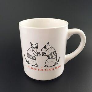 Vintage-Funny-Texas-Armadillos-Drinking-Coffee-Mug-Tea-Cup-Southwest-Souvenir