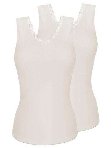 Sangora 8050910 2er Pack Damen Unterhemd ärmellos mit Angora Thermowäsche