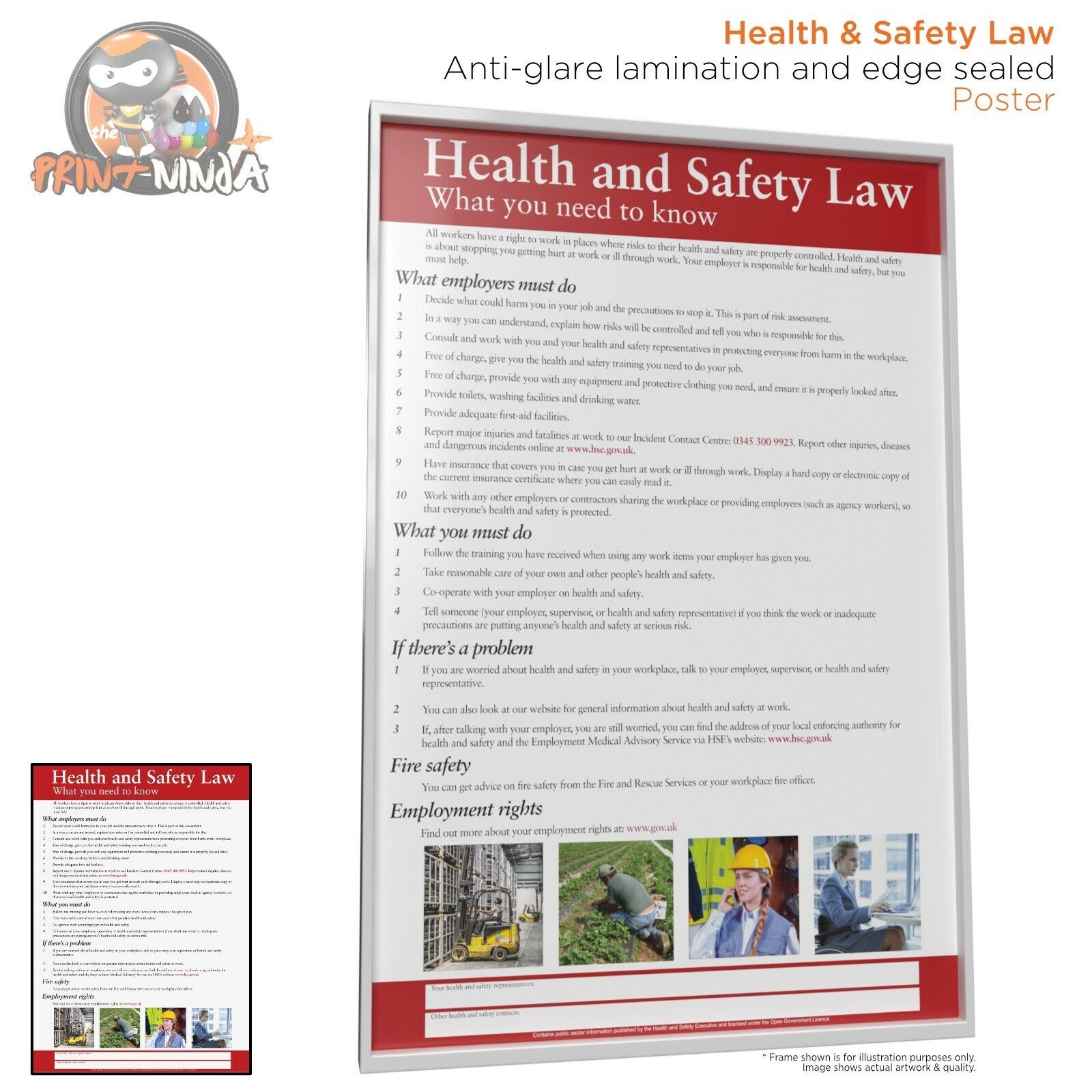 Health and Safety Law Poster A2 A3 A4 (anti-glare lamination & edge sealed)