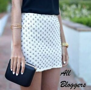 06a30cede9 Image is loading ZARA-OFF-WHITE-BEADED-EMBROIDERED-GUIPURE-MINI-SKIRT-