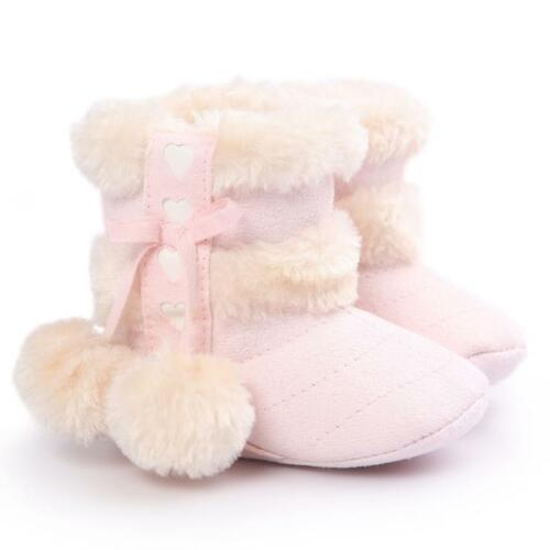 Newborn Kid Baby Girls Snow Shoes Winter Soft Sole Prewalker Crib Plush Boots US