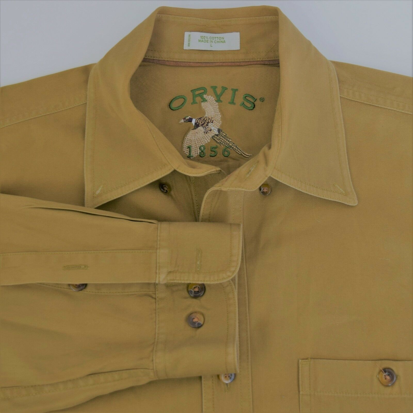 Orvis 1856 Mens size L Long Sleeve Button Front Khaki Beige Shirt Embroidered