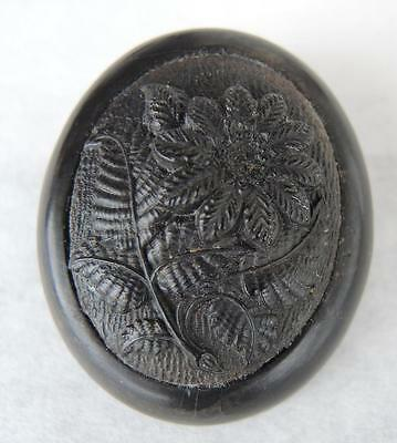 Antique Civil War Era Gutta Percha Mourning Domed Brooch * Daisy Flower