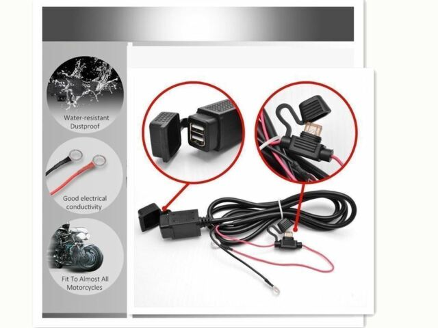 sae to usb adaptor charger w/ wiring harness kit plug for bmw motorcycle