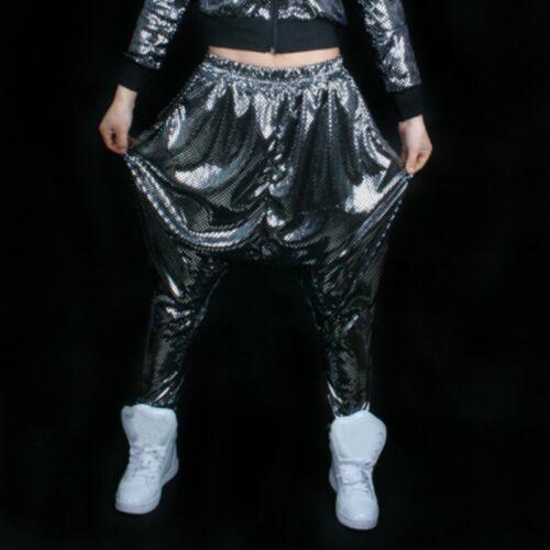 Damen tiefer Schritt Harem Hose Hose Glitzer Locker konisch Punk Hippy Hip Hop