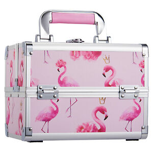 Large Vanity Case Beauty Box Make up Cosmetic Nail Art Tools Storage Flamingo