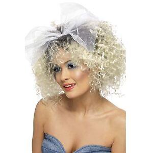 WOMEN/'S 80/'S 90/'S MATERIAL GIRL BLONDE CURLY POP STAR WIG FANCY DRESS ACCESSORY