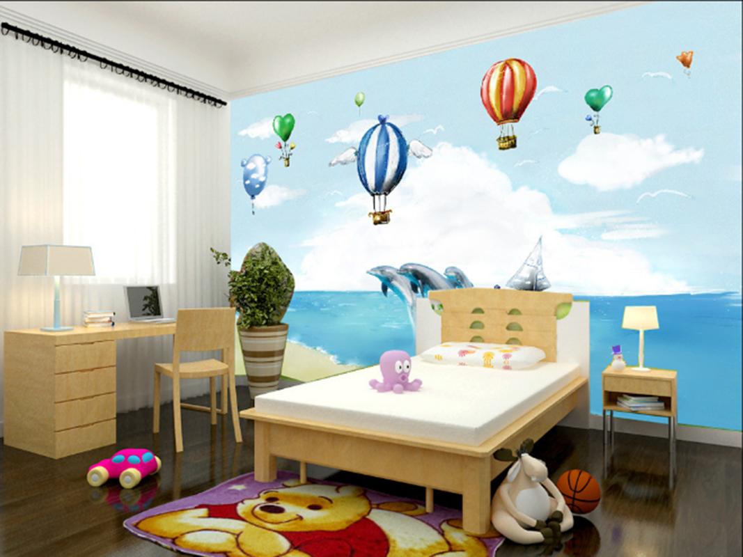 3D Ballon Delphin Strand 795 Tapete Wandgemälde Tapeten Bild Familie DE Summer