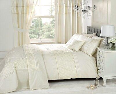 Cream Luxury Bedding Set Plain Floral Single Double Super King Scatter Cushion