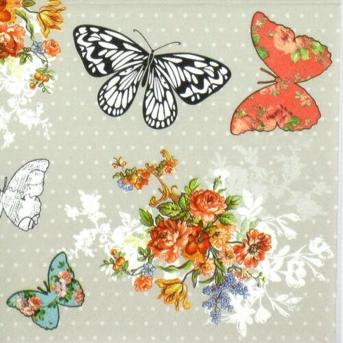 4x Paper Napkins for Decoupage Decopatch Roses Butterflies