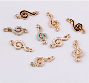 PJ1123 6pc Charms Music notation Pendant Beads Necklace Jewellery Making Enamel